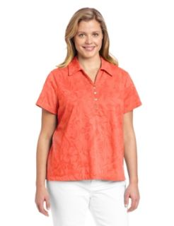 Caribbean Joe Women's Plus Size Short Sleeve Jacquard Polo, Big Wave, 1X Clothing