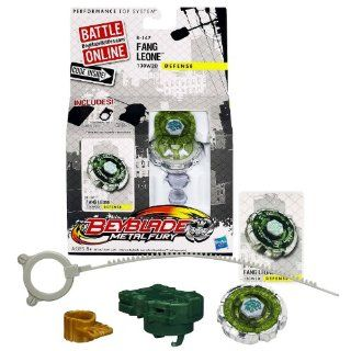 Hasbro Year 2012 Beyblade Metal Fury Performance Battle Tops   Defense 130W2D B 134 FANG LEONE with Face Bolt, Leone II Energy Ring, Fang Fusion Wheel, 130 Spin Track, W2D Performance Tip and Ripcord Launcher Plus Online Code: Toys & Games
