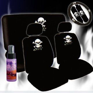 12 Pieces Universal Skull Design Car Seat Covers Set with Front and Rear Seat Covers, Steering Wheel Cover, Seat Belt Cover and 2 Ounce Purple Slice Automotive
