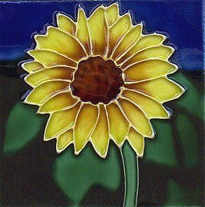 Sunflower Ceramic Wall Art Tile 4x4 Coaster   Decorative Hanging Ornaments
