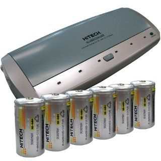 Universal Battery Charger With 6 D Size (9000mAh Ni MH) Rechargeable Batteries: Electronics