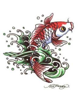 """Ed Hardy Koi Fish Temporary Body Art Tattoos 3"""" x 4"""" Clothing"""