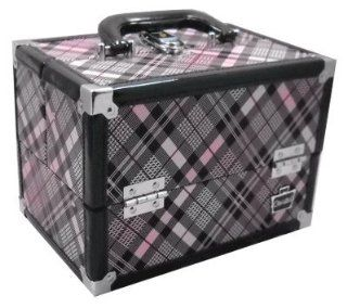 Caboodles Rock Star Make Up Storage Train Case Pink & Black Plaid: Beauty