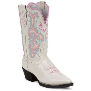 Justin Girls' White Deercow And Blue Stitched Cowgirl Boot Snip Toe 9 D(M) US: Shoes