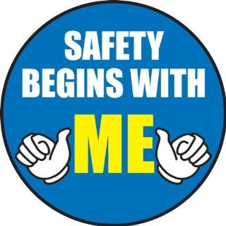 "Accuform Signs LHTL152 Adhesive Vinyl Hard Hat/Helmet Safety Message Label, Legend ""SAFETY BEGINS WITH ME"", 2 1/4"" Diameter, Blue/Yellow/Black on White (Pack of 10) Industrial & Scientific"