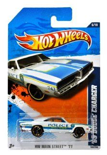 "Mattel Year 2010 Hot Wheels ""HW MAIN STREET"" Series Set (6/10) 1:64 Scale Die Cast Car (166/244)   Ocala Florida Police White Muscle Car '69 DODGE CHARGER (T9873): Everything Else"