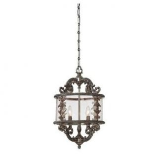 Savoy House 3 2501 4 176 Pendant with Clear Panel Shades, Silver Lace Finish   Ceiling Pendant Fixtures
