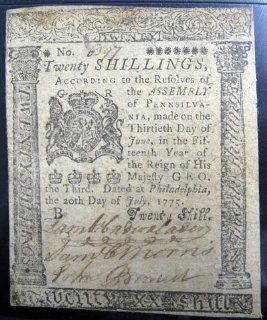 1775 PMG Pennsylvania Colonial Note Fr#PA 178 July 20, 1775 20 S   Prints