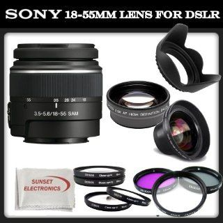 Sony SAL 1855 18 55mm f/3.5 5.6 DT AF Zoom Lens + SSE Accessory Kit Includes   0.45x Wide Angle Macro Lens, 2x Telephoto HD Lens, 3 Piece Professional Filter Set (UV, CPL, FLD), 4 Piece Macro Close Up Kit (Diopters +1, +2, +4, +10), Tulip Lens Hood &