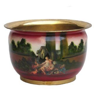 Large Brass Planter w/ Decoupage Image  IMAGES MAY VARY  16x10""