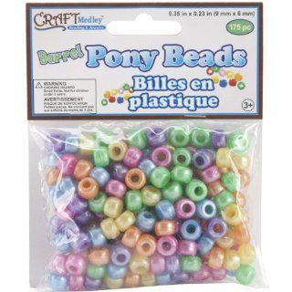 Barrel Pony Beads 9x6mm 175/Pk Pearlized Multi Mix   738400: Patio, Lawn & Garden