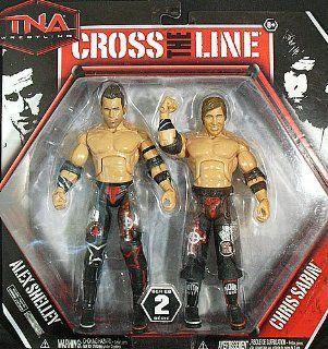 MOTOR CITY MACHINE GUNS (CHRIS SABIN & ALEX SHELLEY)   CROSS THE LINE 2 PACKS 2 TNA TOY WRESTLING ACTION FIGURES: Toys & Games