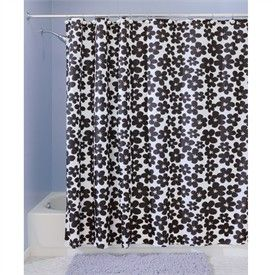 Blue Floral Fabric Shower Curtain On PopScreen