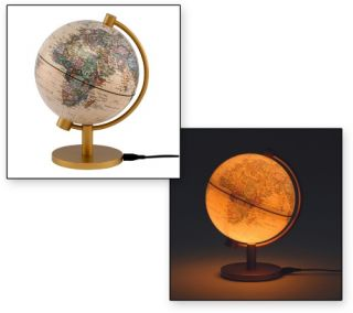 5 in. Illuminated Antique Table Top Globe   Globes