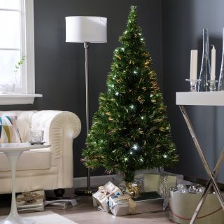Metallic Green Clover Medium Fiber Optic Pre lit Christmas Tree   5 ft.   Clear   Christmas