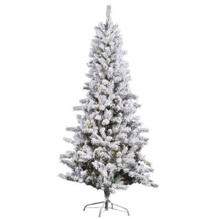 Vickerman Flocked Slim Pine Pre Lit Christmas Tree   Christmas Trees