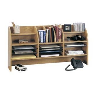 Safco 47 in. Wide Radius Front 16 Compartment Desktop Organizer   Oak   Office Desk Accessories
