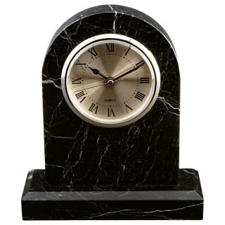 Black Zebra Large Marble Tomb Desktop Clock   Desktop Clocks