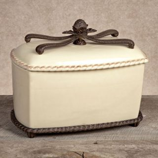 GG Collection Bread Box with Metal Base   Cream   Storage Containers