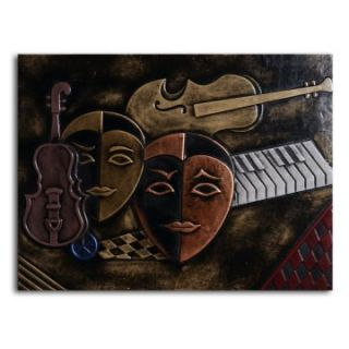 Masked Trio Leather Wall Art   32W x 24H in.   Wall Sculptures and Panels