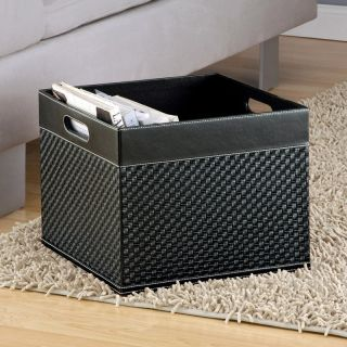 Black Faux Leather Woven Magazine and Newspaper Basket   Home Magazine Racks