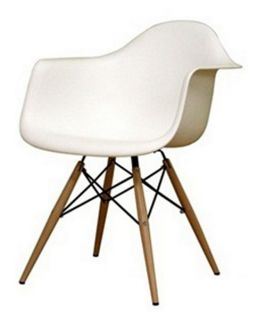Wood Leg White Bucket Seat Dining Arm Chair   Dining Chairs