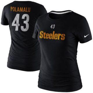 Nike Troy Polamalu Pittsburgh Steelers Ladies Player Name and Number T Shirt   Black