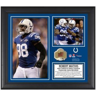 Robert Mathis Indianapolis Colts Franchise Career Sack Record Framed 15 x 17 Collage with Game Used Ball   Limited Edition of 500