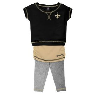 New Orleans Saints Infant Girls 2 Piece Crew T Shirt & Leggings Set   Black/Old Gold/Ash