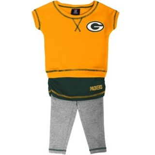 Green Bay Packers Infant Girls Crew T Shirt & Leggings Set   Gold/Green/Ash