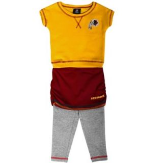 Washington Redskins Preschool Girls 2 Piece Crew T Shirt & Leggings Set   Gold/Burgundy/Ash