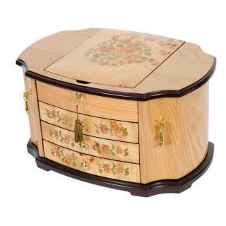 Oak Burl with Mapa and Floral Inlay Jewelry Chest   20W x 12.75H in.   Womens Jewelry Boxes