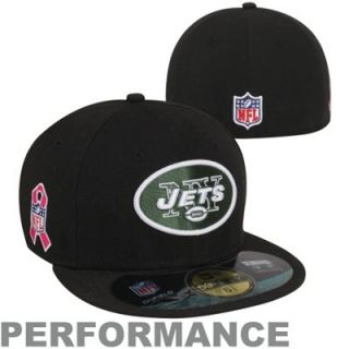 New Era New York Jets Breast Cancer Awareness On Field 59FIFTY Fitted Performance Hat   Black