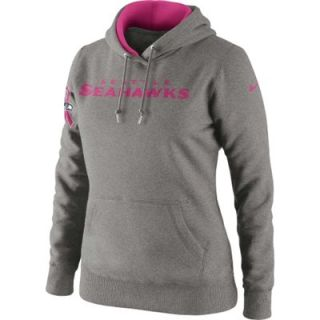 Nike Seattle Seahawks Ladies Breast Cancer Awareness Tailgater Pullover Hoodie Sweatshirt   Ash