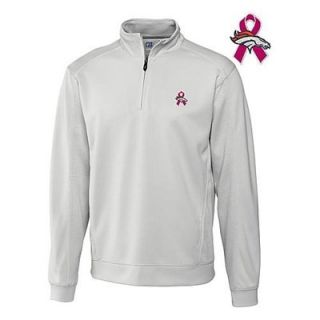 Cutter & Buck Denver Broncos Breast Cancer Awareness DryTec Half Zip Jacket   Gray