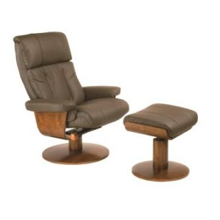 MAC Motion Oslo Collection Massaging Air Lumbar Top Grain Leather Swivel Recliner with Ottoman   Dark Brown   Home Theater Seating