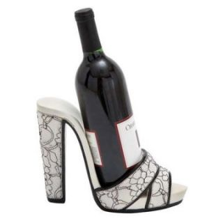 Woodland Imports Black & White Swirl Print Strappy Shoe Wine Holder   Wine Racks