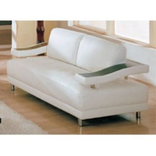 Global Furniture Ryan White Leather/Leather Match Loveseat   Modern Living Room Seating