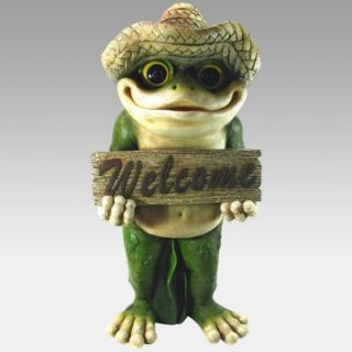 Frog Welcome Sign Statue   Garden Statues