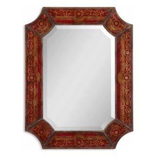 Aldridge Heavy Distressed Red & Gold Wall Mirror   24W x 31.5H in.   Wall Mirrors