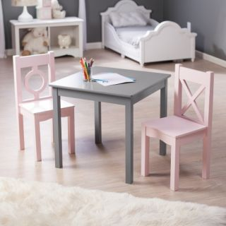 Lipper Hugs and Kisses Table and 2 Chair Set   Gray & Pink   Activity Tables