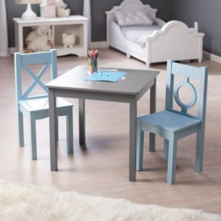 Lipper Hugs and Kisses Table and 2 Chair Set   Gray & Blue   Activity Tables