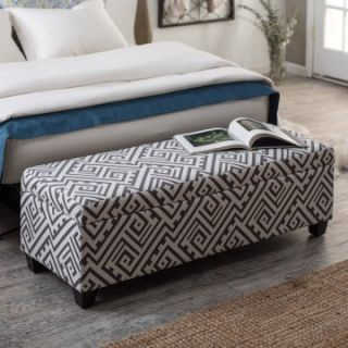 angelo:HOME Kent Bench Ottoman   Smoky Gray Maze   Ottomans