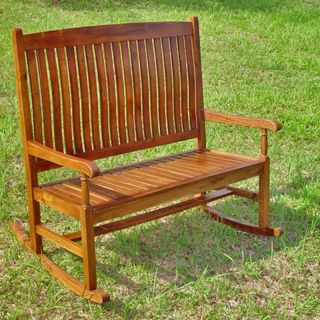... Traditional Stained Double Rocking Chair Bench Outdoor Rocking Chairs
