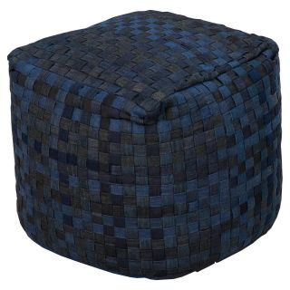 Surya 18 in. Checkered Cube Cotton Pouf   Ottomans
