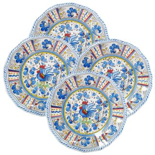 Le Cadeaux 9 in. Rooster Blue Salad Plate   Set of 4   Outdoor Dinnerware