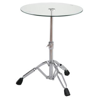 Euro Style Drum End Table Tempered Glass/Chrome   End Tables