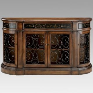 Stein World Kendel Bookcase Credenza with Iron Work Doors   Bookcases