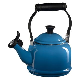 Le Creuset Demi 1.25 qt. Stainless Steel Whistling Teakettle   Marseille Blue   Stove Top Tea Kettles