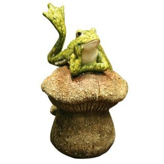 Lazy Frog On A Mushroom Cast Resin Garden Statue   Garden Statues